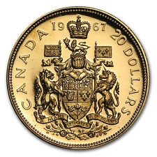 1967 Canada Gold $20 Confederation BU/Proof (AGW .5288) - SKU #8904