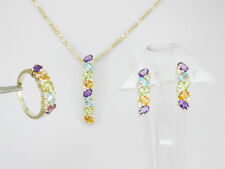 2073 Oval Gems Earring, Pendant & Ring sz 6 Matching Set Solid 14k Yellow Gold