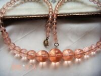 VINTAGE ART DECO CHAMPAGNE PINK POOLS OF LIGHT GLASS CRYSTAL BEAD NECKLACE