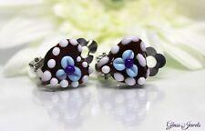 Glass Jewels Silber Ohrringe Ohrclips Lebkuchenherz Lampwork Oktoberfest #LA036
