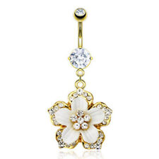 14k Gold Plated Gemmed Flower Belly Ring Navel Pierced Body Jewelry Dangle(w547)