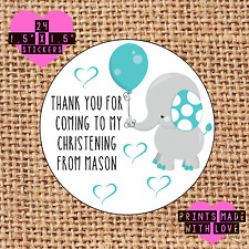 Personalised 24 Christening / Naming Day stickers party labels blue elephant sb