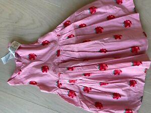 Kleid von Jacardi Paris Mädchen Pink mit Himbeeren 5Jahre / 110cm Super Zustand