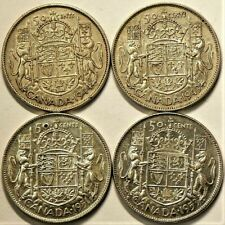 1944 1949 1951 1953 Canada 50 Cents Lot of 4 Silver #10879