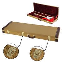 Electric Guitar Case Tweed Lockable Gold Guitar Hard Case Protective Bag UK