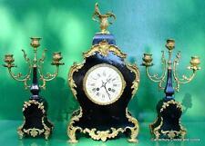 ANTIQUE JAPY FRERES 8 DAY ORMOLU ROCOCO BOULLE TYPE CANDELLABRAS CLOCK SET 1880c