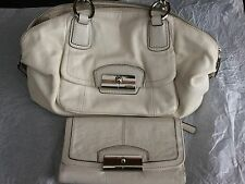 COACH 19296 KRISTIN CREAM HANDBAG WITH SNAKE TRIM WITH MATCHING WALLET