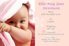 40 Personalised Baby Thank You Birth Announcement cards GIRL ACFP 1st class post