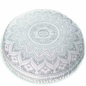 Large Ombre Floor Pillow, Decorative Throw Cushion Cover Round Stool Seat