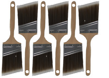 """6PK 3""""Angle House Wall,Trim Paint Brush Set Home Exterior or Interior Brushes"""