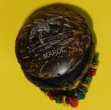 "3"" Maroc Coconut Shell Key Money Coin Purse Wood Bead Bracelet"