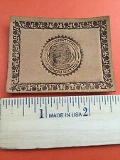Republic Of Massachusetts Antique Leather State Seal Tobacco Patch 65E7