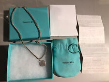 Tiffany & Co Silver Return To Tiffany Heart Bead Necklace 16in W Box & Receipt