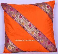 "16"" Indian Handmade Orange Sari Silk Patchwork Cushion Throw Pillow Cover Decor"