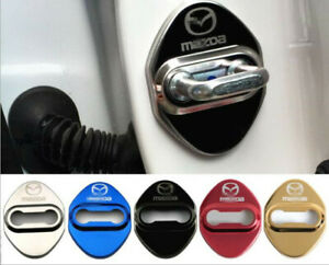 4PCS Stainless Steel Car Door Lock Latches Striker Cover Protector for Mazda