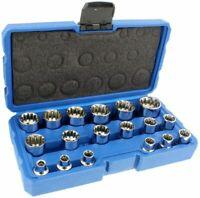 "3/8"" Dr. 18PC Penta-Spline Socket Set (SAE, Metric, Torque)"