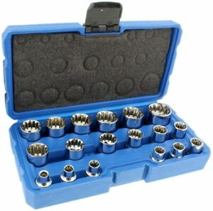 "3/8"" Dr. 18PC Penta-Spline Socket Set (SAE, Metric, Torque)"