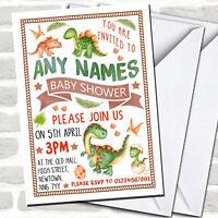 Cute Dinosaur Watercolour Baby Shower Invitations