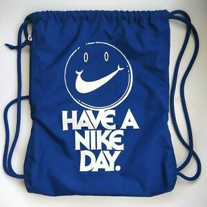Gym Sack Drawstring Bag Backpack Zipped Pocket Blue Happy Face Swoosh White Logo