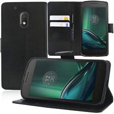 "Etui Coque Housse Portefeuille Support Video NOIR Motorola Moto G4 Play 5.0"""