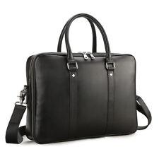 """Men Top Grain Leather Handbag 14"""" Laptop Briefcase Black Shoulder Messenger Bag"""
