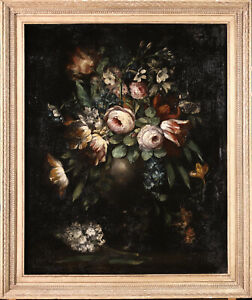 17th CENTURY SPANISH LARGE OLD MASTER OIL ON CANVAS - FLOWERS IN VASE