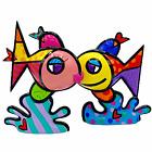 ROMERO BRITTO Deep Love Resin Sculpture Limited Edition I 429/500 COA Fish Kiss