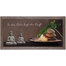 Wandbild Kunstdruck gerahmt 23 x 49 cm Wellness Buddha Kerzen braun grau grün
