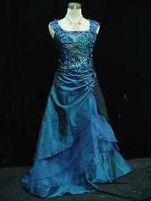 Cherlone Blau Damenkleider Ballkleid Brautkleid Abendkleid Brautjungfer Kleid 36