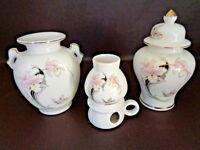 3 Piece Set of Fine China Vase, Ginger Jar & Tea Light Made in Japan