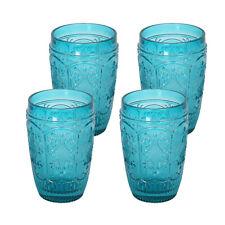 4 Pc Set Old Fashion glass Elegant Barware and Drinkware Aqua