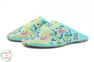 Moroccan women wedding slippers Morocco Berber embroider mule leather slipper