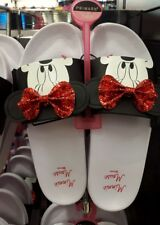 Primark Ladies Disney Minnie Mouse Red Bow Pool Sliders Beach Flip Flops Slipper