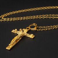 Herren Kette Christlich Schmuck Geschenke Vintage Kreuz Jesus Anhänger K30PRO
