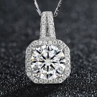 "Fashion Sterling Silver White Crystal Pendant 18"" Chain Women's Jewelry Necklace"