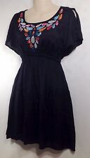Angie Boho Sz M Teardrop Festival Empire Waist Dress Tunic Black Split Slvs