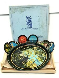 Vintage Bright Of America TIN TRAY & COASTER SET 29030 Moments In Nature w/Box