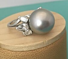 18K White Gold UNIC TAHITIAN 14MM Rare Pearl Diamonds Spectacular One of a Kind!