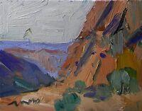 JOSE TRUJILLO ORIGINAL Oil Painting IMPRESSIONISM CANYON HILLS DESERT LANDSCAPE