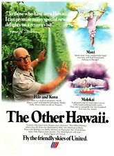 Vintage Print Ad United 70s  Tourism Airlines Vacation Hilo Hawaii Kona Michener
