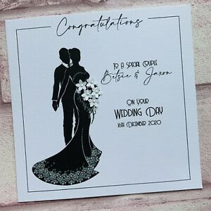 PERSONALISED Handmade  WEDDING DAY Congratulations CARD Silhouette 3D FLOWERS
