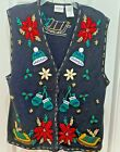 Bobbie Brooks Ugly Cute Christmas Sweater Vest - sleighs, mittens, Size Wm. LG