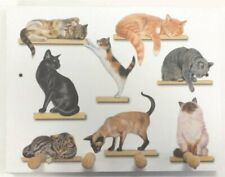 Booth Designs Cats on Shelves 4 Peg Wooden Key Holder/Pegboard