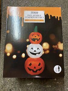 Pre-Lit 3 Pumpkin pumpkins Halloween Inflatable Decoration LED Light 1.2m Height