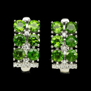 Round 3.5mm Top Green Chrome Diopside Unheated W Cz 925 Sterling Silver Earrings