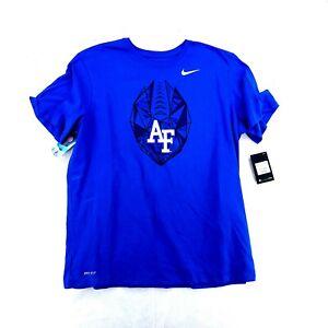 Men's Blue NWT Nike Dri-Fit Air Force College Football Short Sleeve Shirt Sz 2XL