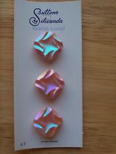 6 PINK IRIDESCENT CARVED GLASS SQUARE VINTAGE GERMANY BUTTONS SCHWANDA NOS 16mm