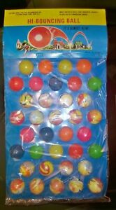 36 VINTAGE SUPER BOUNCY BALLS NEW OLD STORE STOCK DISPLAY CARD 70s hi bouncing