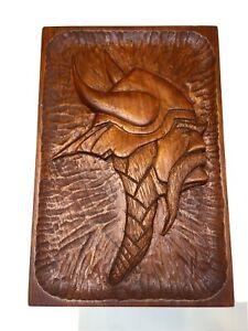 "Rare Minnesota Vikings Hand Carved Wooden Viking Head Plaque Wall Decor 11.5"""