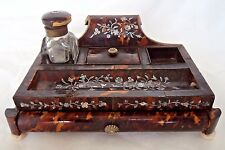 RARE GEORGE III / REGENCY c1820 FAUX TORTOISESHELL INK STAND / WELL